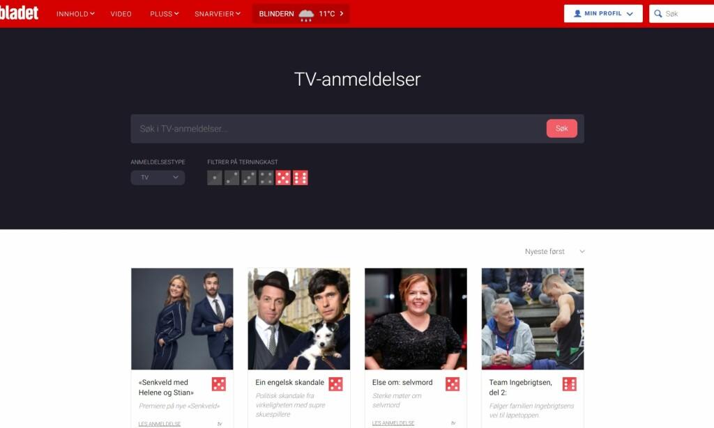 Godt eksempel for helga: Dagbladet.no vinkler på tv-serier som har fått terningkast fem eller seks. Faksimile: dagbladet.no.